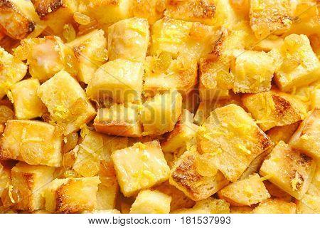 Delicious bread pudding with raisins, closeup