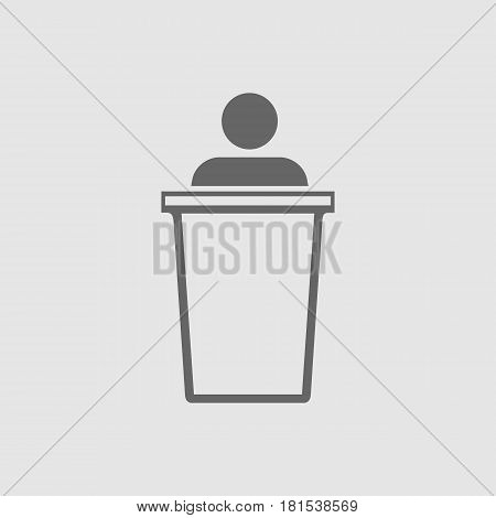 Speaker on podium vector icon eps 10. Speech symbol. Simple isolated illustration.