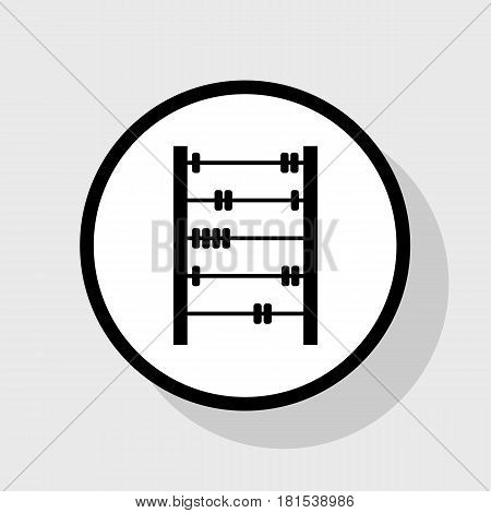 Retro abacus sign. Vector. Flat black icon in white circle with shadow at gray background.