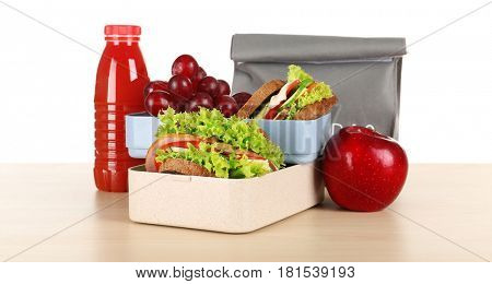 Meal for schoolchild on table. School lunch concept
