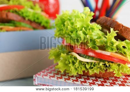 Tasty sandwich for school lunch, closeup