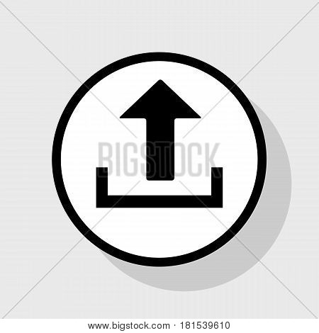 Upload sign illustration. Vector. Flat black icon in white circle with shadow at gray background.