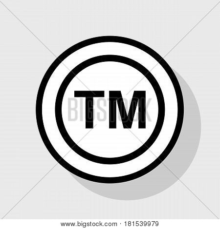 Trade mark sign. Vector. Flat black icon in white circle with shadow at gray background.