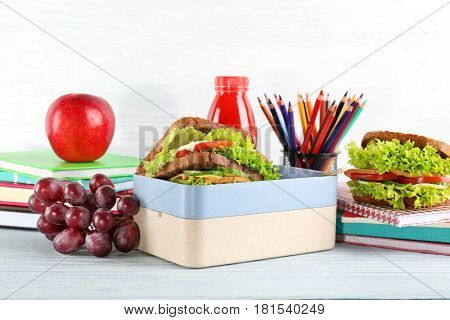 Meal for school lunch on table