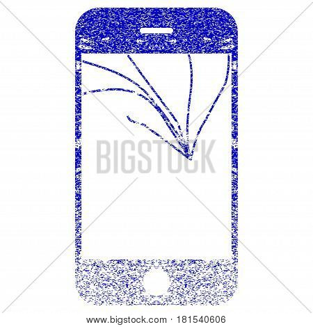 Broken Smartphone Screen textured icon for overlay watermark stamps. Blue vectorized texture. Flat vector symbol with dirty design. Blue rubber seal stamp imitation.