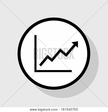 Growing bars graphic sign. Vector. Flat black icon in white circle with shadow at gray background.