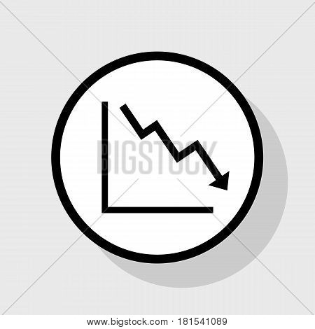 Arrow pointing downwards showing crisis. Vector. Flat black icon in white circle with shadow at gray background.
