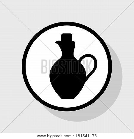 Amphora sign illustration. Vector. Flat black icon in white circle with shadow at gray background.