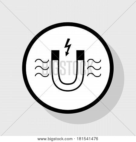 Magnet with magnetic force indication. Vector. Flat black icon in white circle with shadow at gray background.
