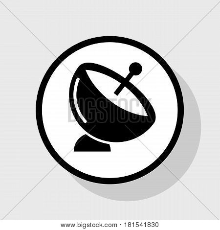 Satellite dish sign. Vector. Flat black icon in white circle with shadow at gray background.