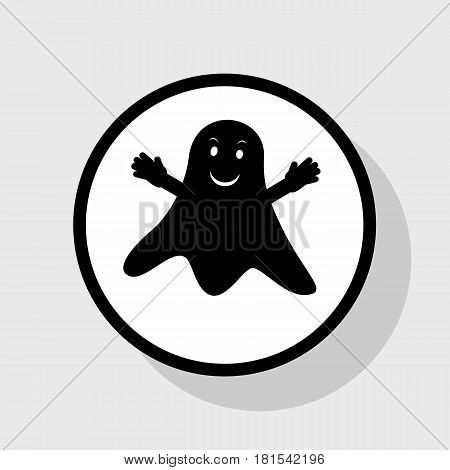 Ghost isolated sign. Vector. Flat black icon in white circle with shadow at gray background.