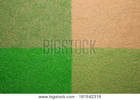 Green And Orange Wool Plaid Texture Macro Shot