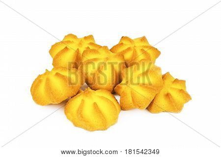 Several Mouthwatering Shortbread Cookies Isolated On White