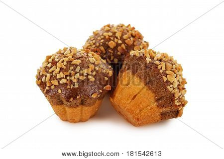Muffins With Peanut Chips Isolated On White Background