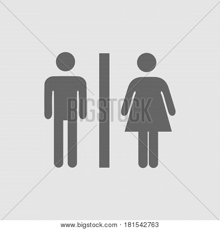 Lady and man toilet sign vector icon eps 10. Restroom symbol. Simple isolated illustration.