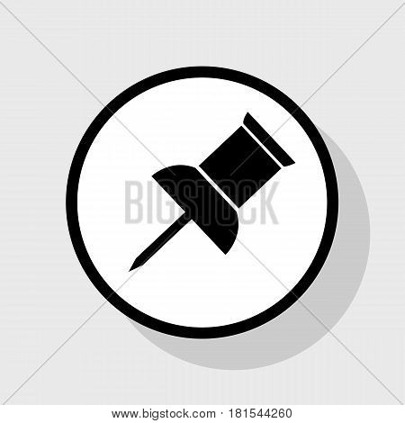 Pin push sign. Vector. Flat black icon in white circle with shadow at gray background.