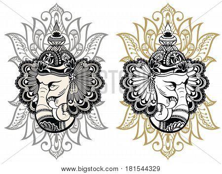 Hindu Lord Ganesha for your design. Elephant illustration