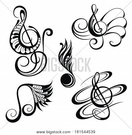 Music notes design elements set. Music set