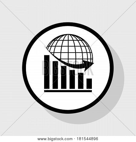 Declining graph with earth. Vector. Flat black icon in white circle with shadow at gray background.