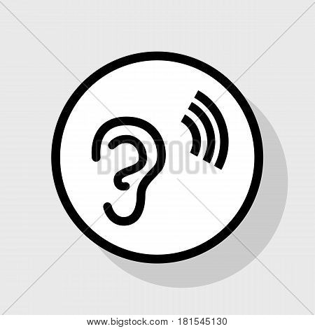 Human anatomy. Ear sign with soundwave. Vector. Flat black icon in white circle with shadow at gray background.