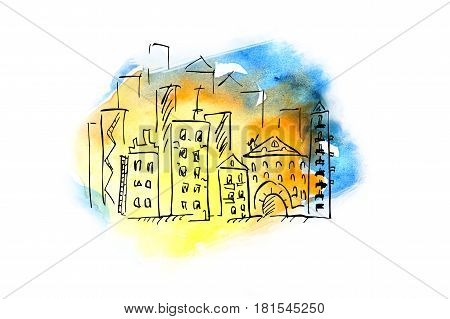 City. Illustration in ink and watercolor. Doodle art. Freehand outline ink hand drawn picture object sketch.