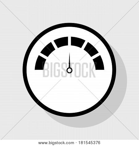 Speedometer sign illustration. Vector. Flat black icon in white circle with shadow at gray background.