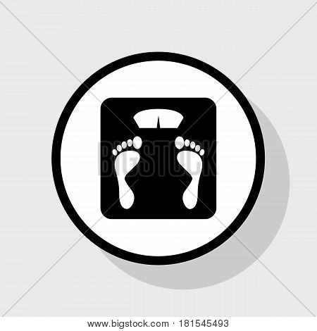 Bathroom scale sign. Vector. Flat black icon in white circle with shadow at gray background.