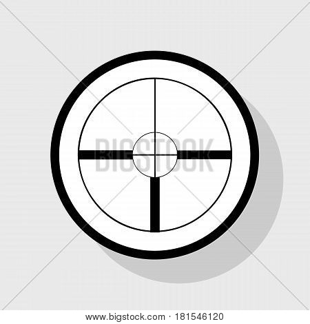 Sight sign illustration. Vector. Flat black icon in white circle with shadow at gray background.