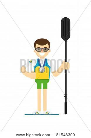 Smiling athlete rower with oar vector illustration isolated on white background. Sport competition concept, sportsman in flat design.