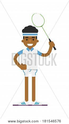 Young black man badminton player with racket vector illustration isolated on white background. Sport competition concept, sportsman, athlete personage in flat design.
