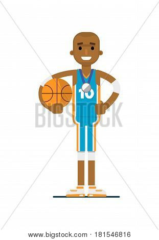 Young african man basketball player vector illustration isolated on white background. Sport competition concept, sportsman, athlete personage in flat design.