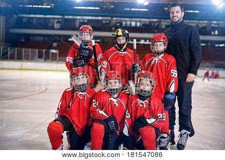 Ice hockey boys players team on the ice portrait