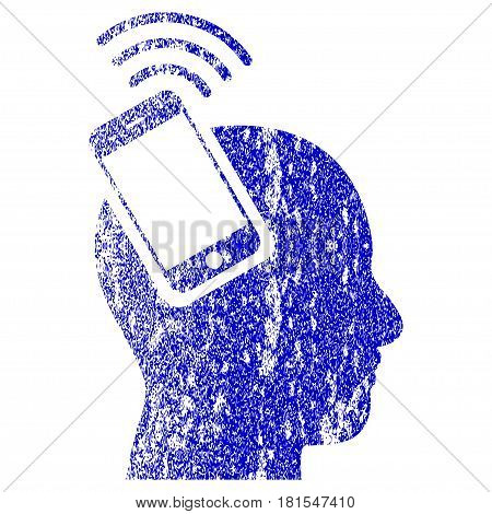 Head Smartphone Plugin Ring textured icon for overlay watermark stamps. Blue vectorized texture. Flat vector symbol with dust design. Blue rubber seal stamp imitation.