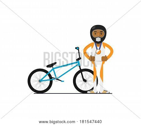 Young african bicyclist with bike vector illustration isolated on white background. Sport competition concept, athlete personage in flat design.