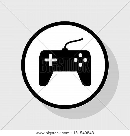 Joystick simple sign. Vector. Flat black icon in white circle with shadow at gray background.