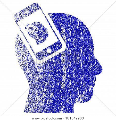 Smartphone Head Plugin Recursion textured icon for overlay watermark stamps. Blue vectorized texture. Flat vector symbol with dirty design. Blue rubber seal stamp imitation.