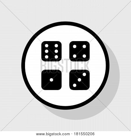 Devils bones, Ivories sign. Vector. Flat black icon in white circle with shadow at gray background.