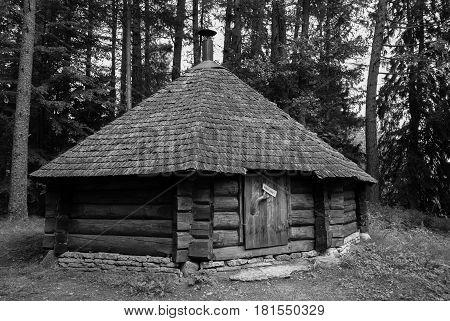 Forest hut in Estonia black and white