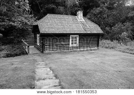 Historic sauna building in Estonia black and white