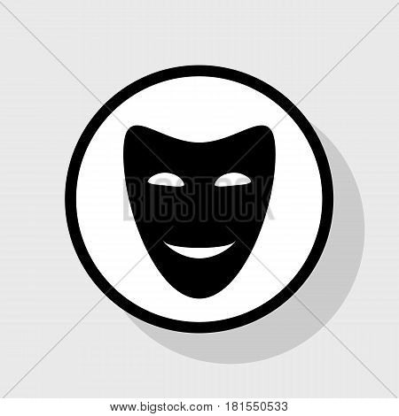 Comedy theatrical masks. Vector. Flat black icon in white circle with shadow at gray background.