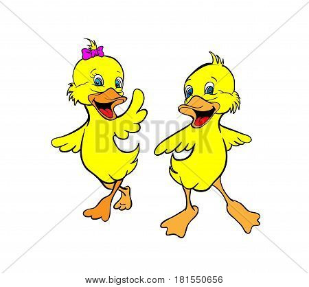Two yellow duckling smiling and waving their wings