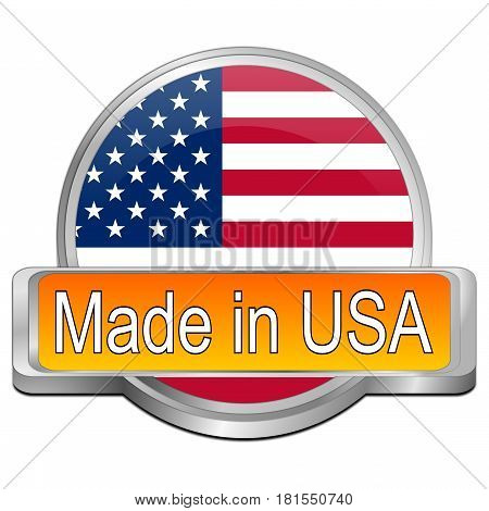 orange Made in USA button - 3D illustration