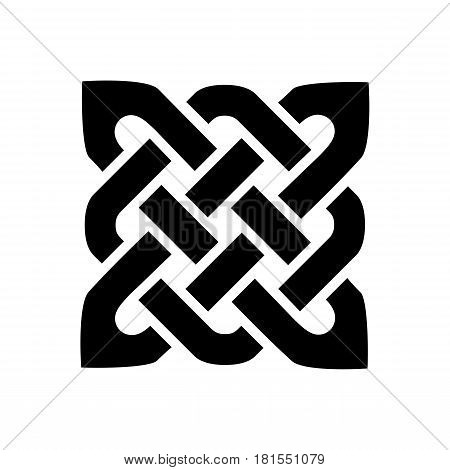 Celtic style square shape element based on eternity knot patterns in black on white background  inspired by Irish St Patrick's Day, and Irish and Scottish carving art
