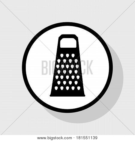 Cheese grater sign. Vector. Flat black icon in white circle with shadow at gray background.