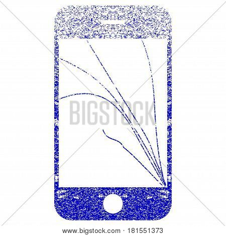 Smartphone Screen Cracks textured icon for overlay watermark stamps. Blue vectorized texture. Flat vector symbol with scratched design. Blue rubber seal stamp imitation.