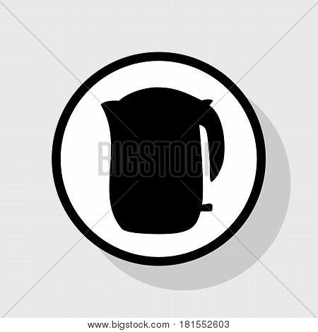 Electric kettle sign. Vector. Flat black icon in white circle with shadow at gray background.