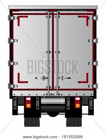 The rear end of a large lorry over a white background