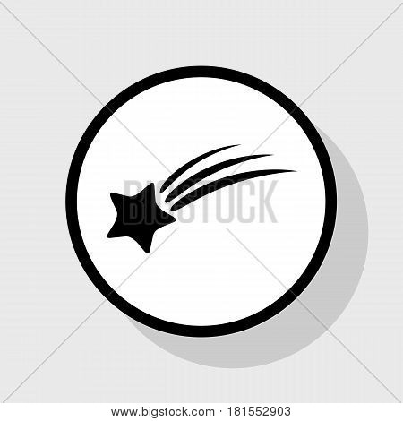 Meteor shower sign. Vector. Flat black icon in white circle with shadow at gray background.