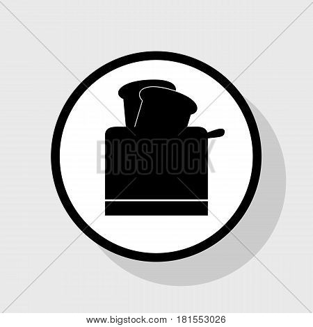 Toaster simple sign. Vector. Flat black icon in white circle with shadow at gray background.