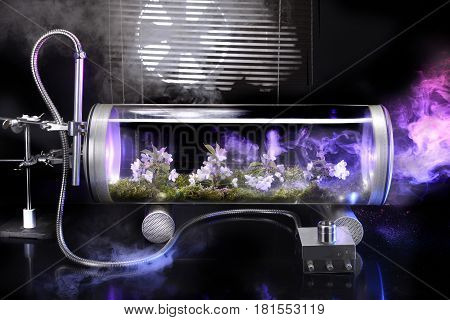 Fantastic plot of flowers in a white petals moss glass capsule